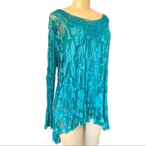 NWT Lace Embroidery Tunic Top Open Knit Cover Up
